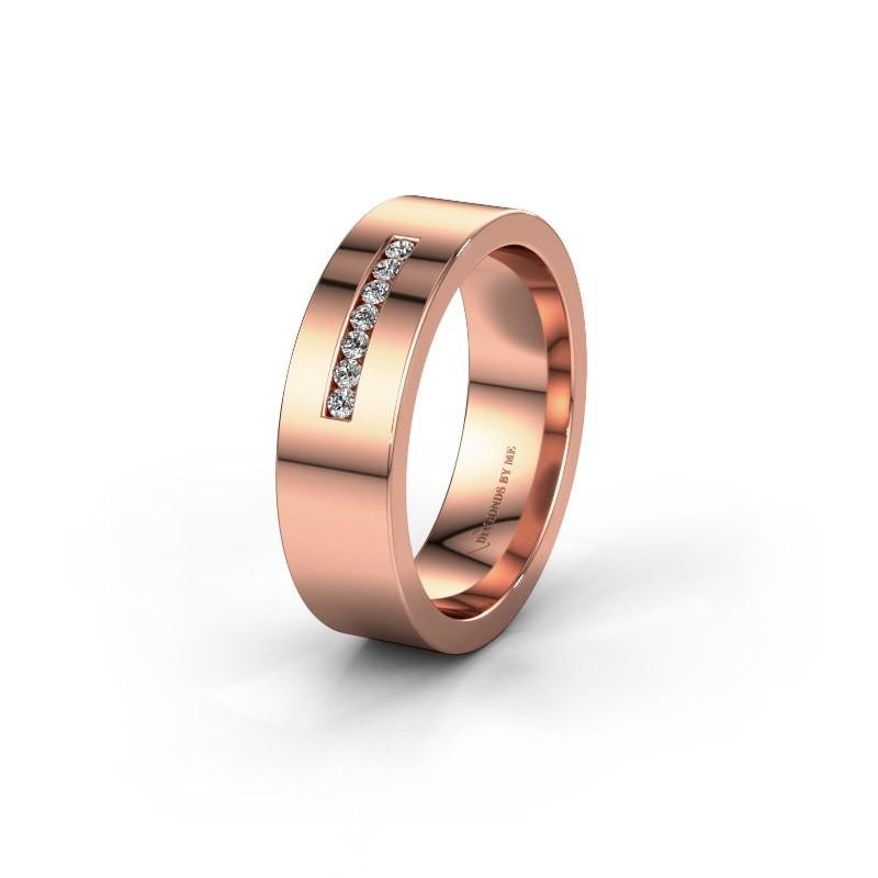 Wedding ring WH0108L16BP 375 rose gold zirconia ±6x2 mm