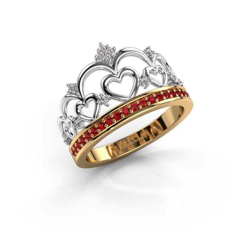 Ring Kroon 2 585 goud robijn 1.2 mm