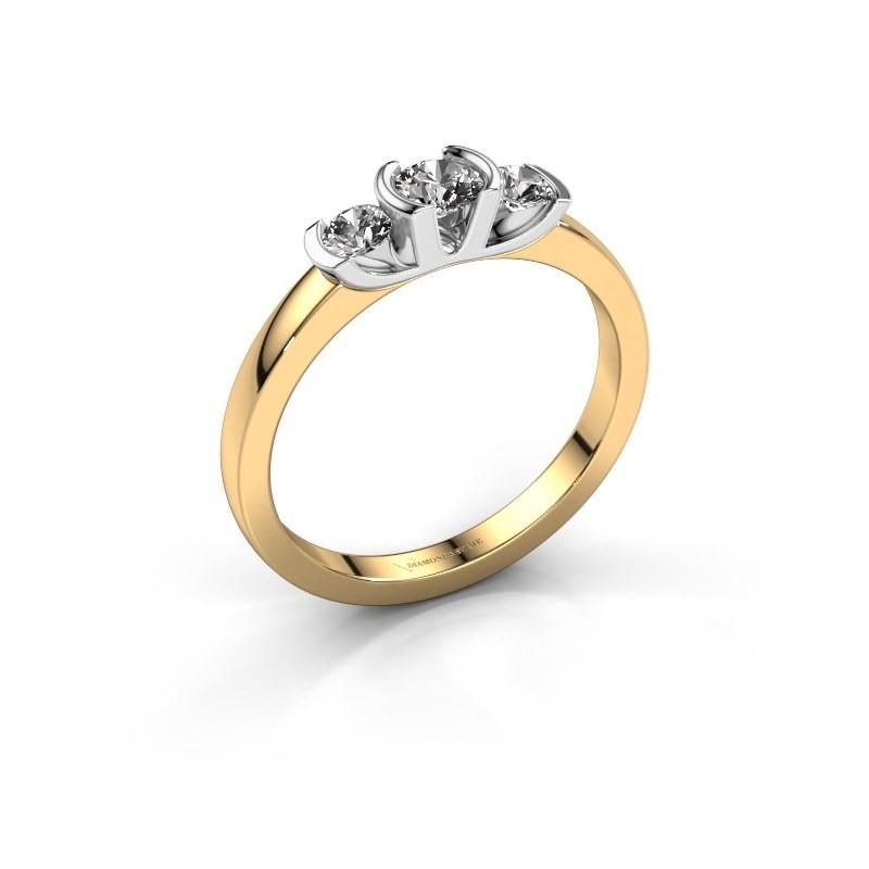 Bague Lucia 585 or jaune diamant synthétique 0.40 crt