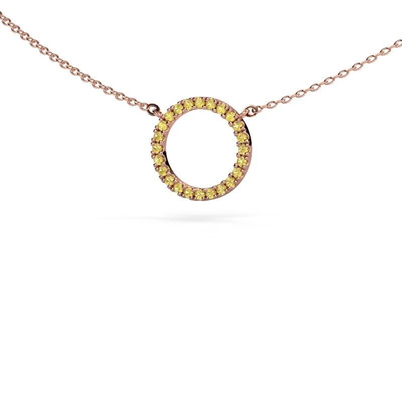 Hanger Circle 375 rosé goud gele saffier 1.2 mm