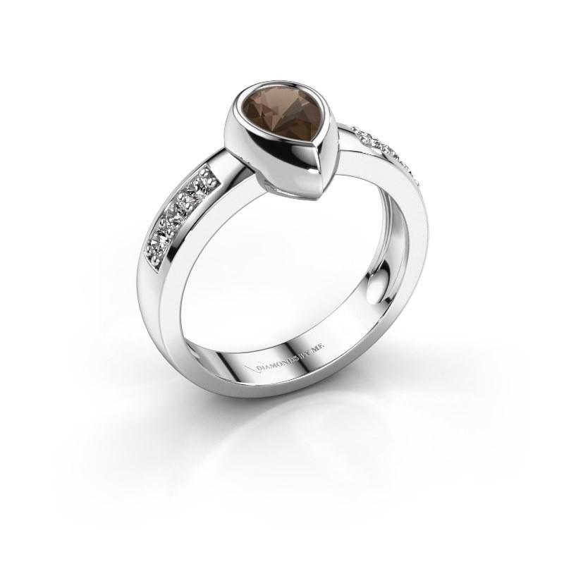 Ring Charlotte Pear 925 Silber Rauchquarz 8x5 mm