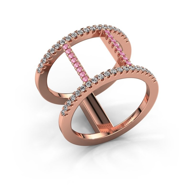 Ring Amee 375 rose gold pink sapphire 1.2 mm