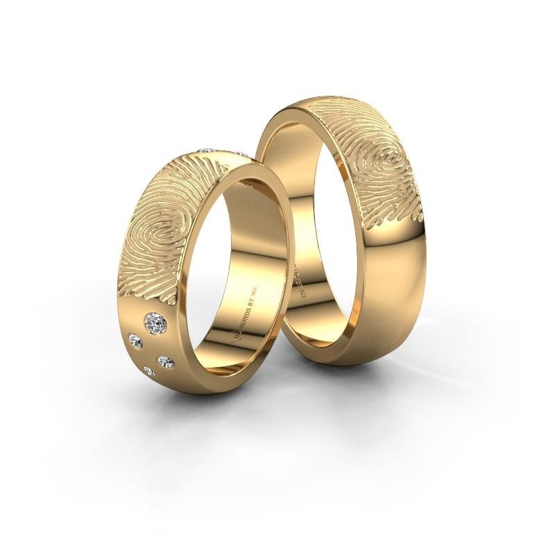 Trouwringen set WHR0423LM ±6x2 mm 14 karaat goud diamant 0.03 crt