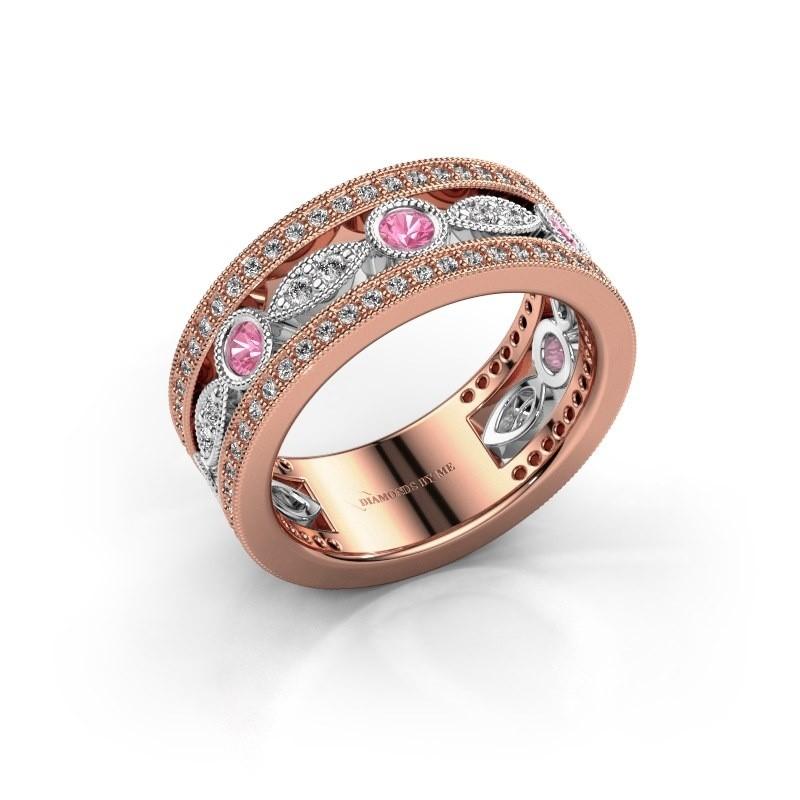 Ring Jessica 585 rosé goud roze saffier 2.5 mm