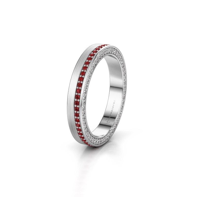 Wedding ring WH2214L15BM 950 platinum ruby 1 mm ±3,5x2 mm