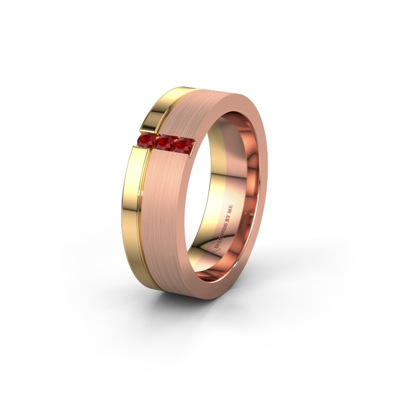 Trouwring WH0327L16B 585 rosé goud robijn ±6x2 mm
