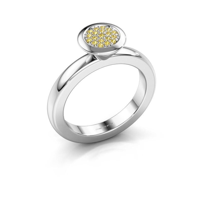 Stapelring Rani 925 zilver gele saffier 1 mm