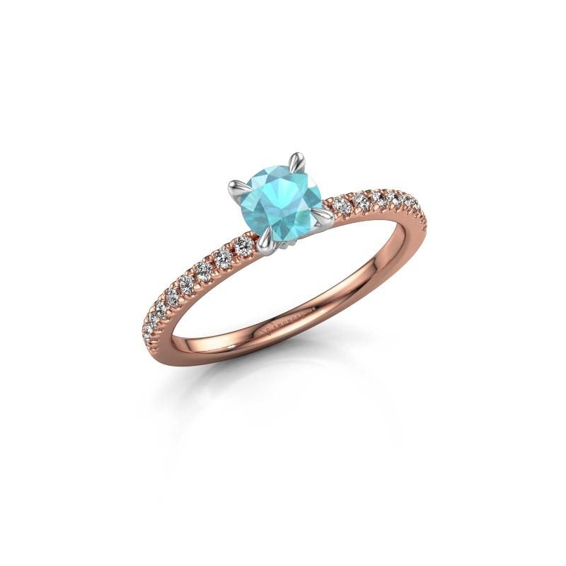 Verlovingsring Crystal rnd 2 585 rosé goud blauw topaas 5 mm