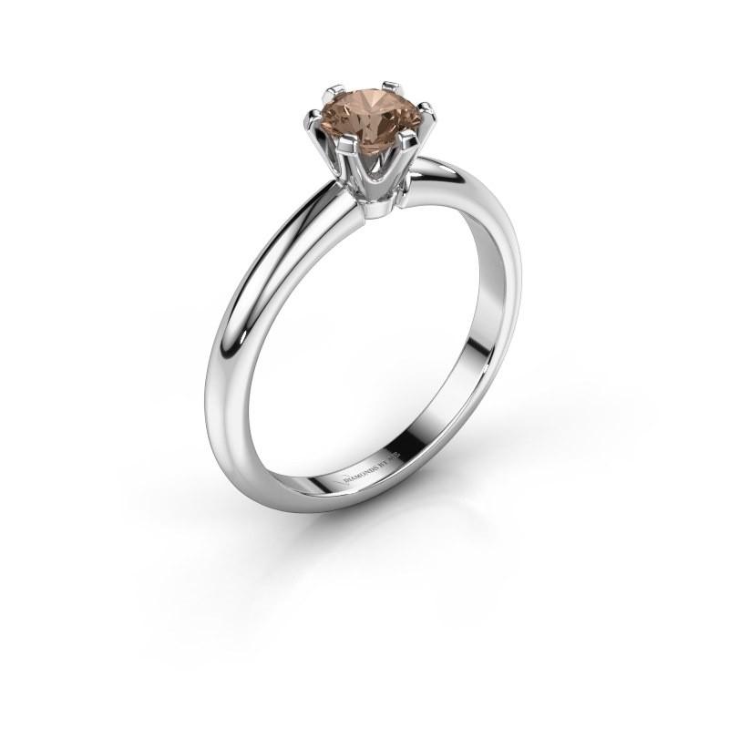 Verlovingsring Tiffy 1 950 platina bruine diamant 0.50 crt