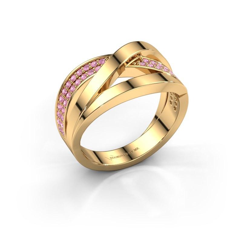 Ring Amira 585 gold pink sapphire 1.2 mm