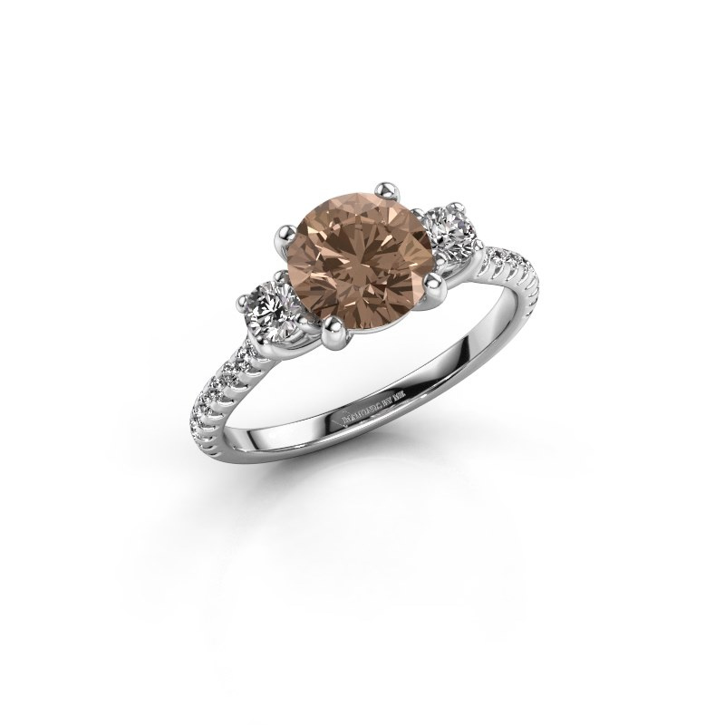 Verlobungsring Jesica 950 Platin Braun Diamant 1.68 crt