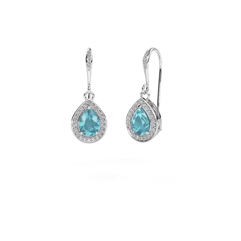 Drop earrings Beverlee 2 585 white gold blue topaz 7x5 mm