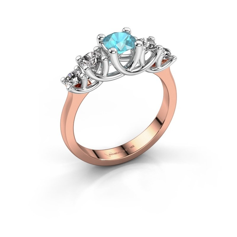 Engagement ring Jet 585 rose gold blue topaz 5 mm