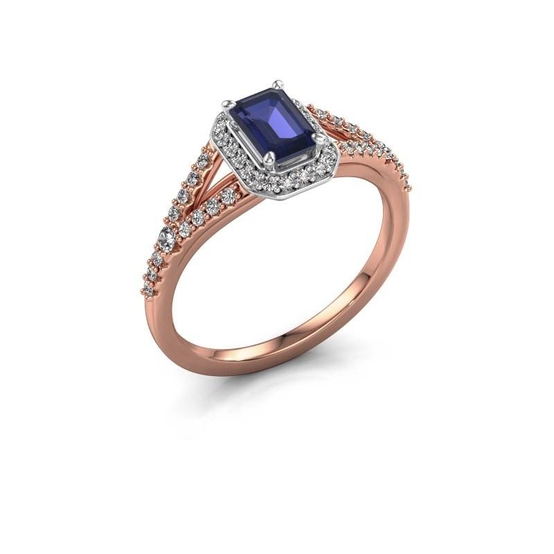 Engagement ring Pamela EME 585 rose gold sapphire 6x4 mm