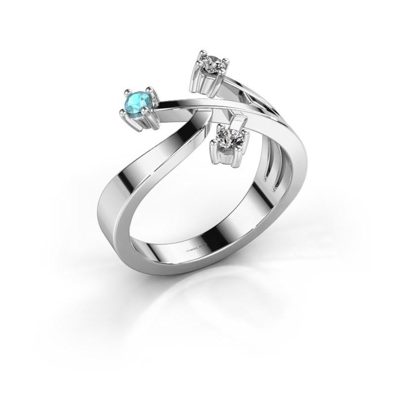 Ring Lillian 585 witgoud blauw topaas 2.5 mm