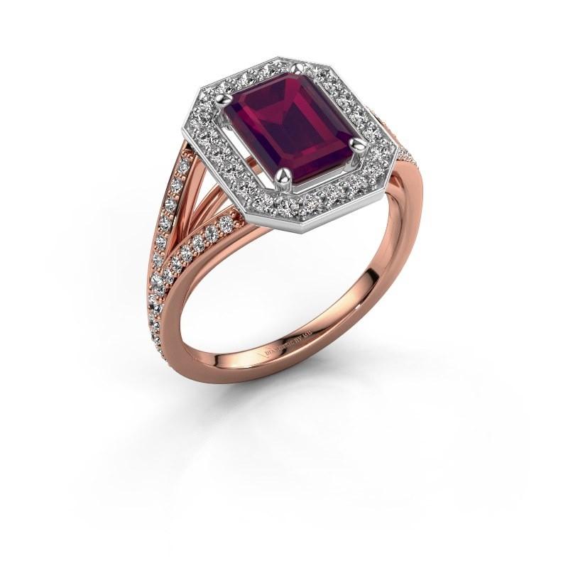 Promise ring Angelita EME 585 rosé goud rhodoliet 8x6 mm