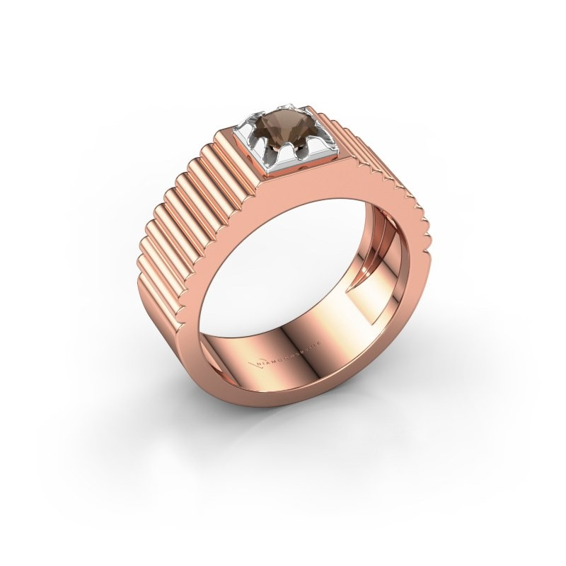 Pink ring Elias 585 rosé goud rookkwarts 5 mm