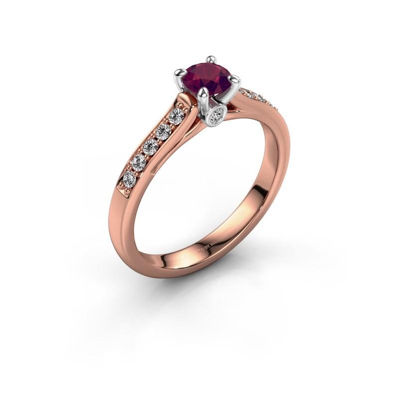 Verlovingsring Valorie 2 585 rosé goud rhodoliet 4.7 mm