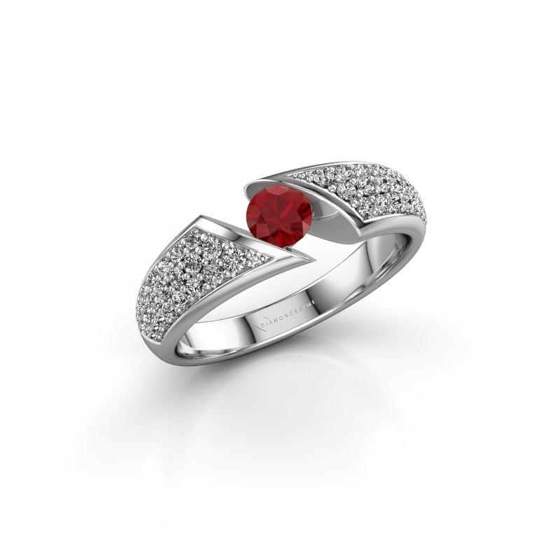 Engagement ring Hojalien 3 585 white gold ruby 4.2 mm
