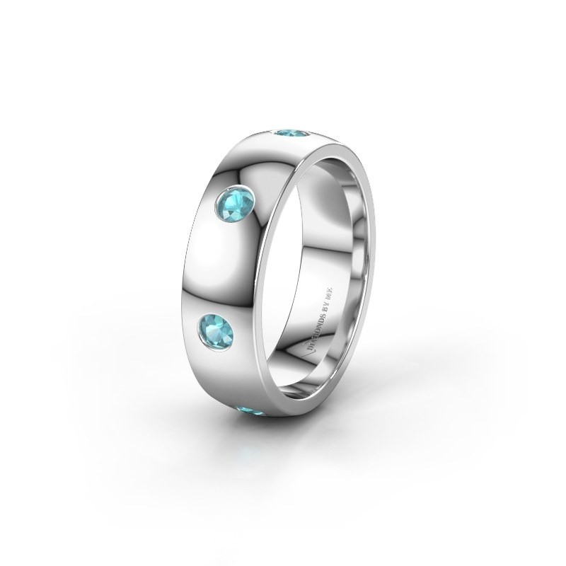 Wedding ring WH0105L26BP 925 silver blue topaz ±6x2 mm