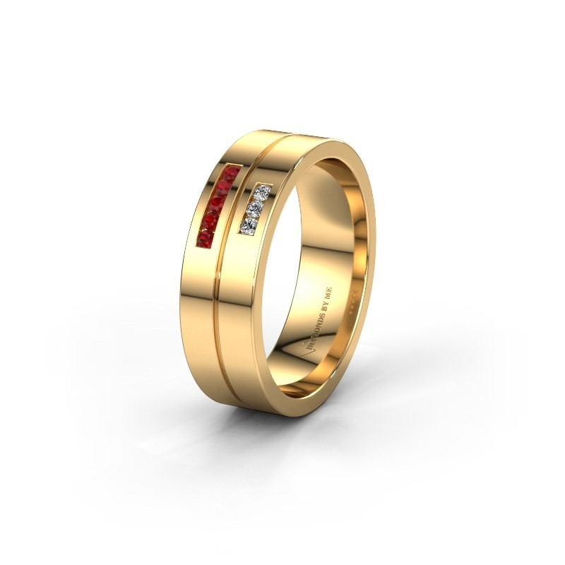 Wedding ring WH0207L16AP 585 gold ruby ±0.24x0.07 in