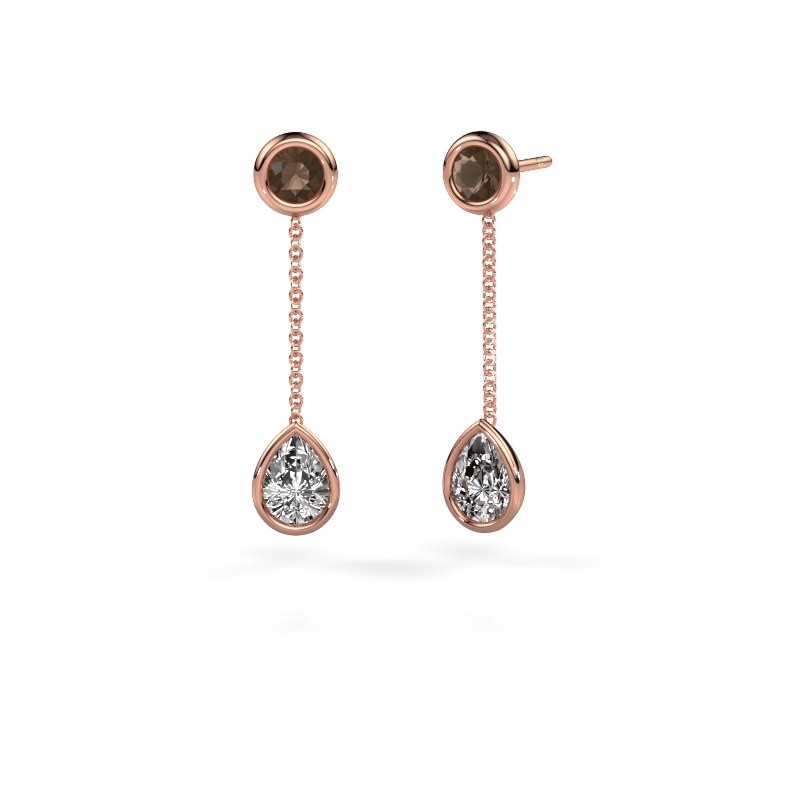 Oorhangers Ladawn 585 rosé goud diamant 0.65 crt