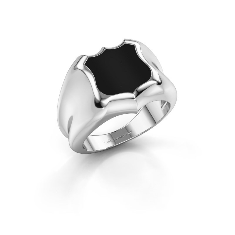 Signet ring Nevin 375 white gold onyx 12x12 mm