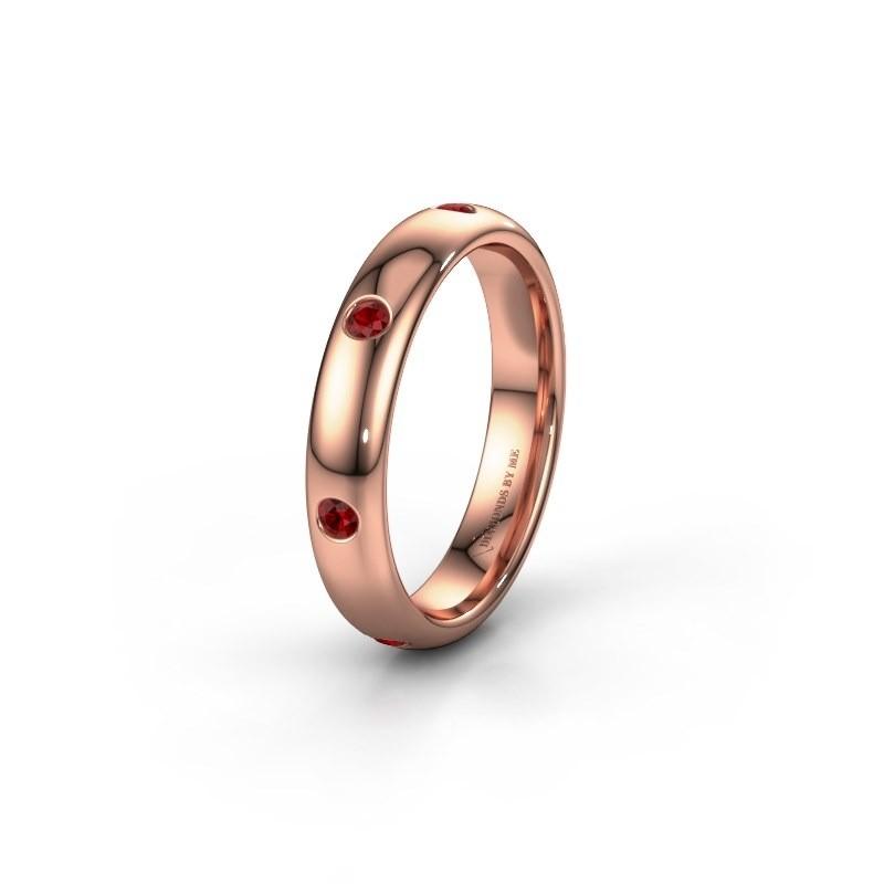 Wedding ring WH0105L34BP 585 rose gold ruby ±4x2 mm