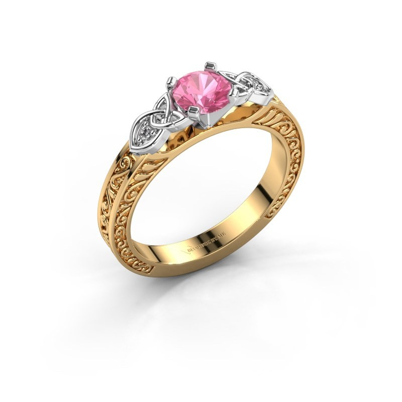 Verlovingsring Gillian 585 goud roze saffier 5 mm