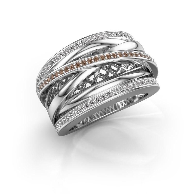 Ring Tabita 950 platina bruine diamant 0.405 crt