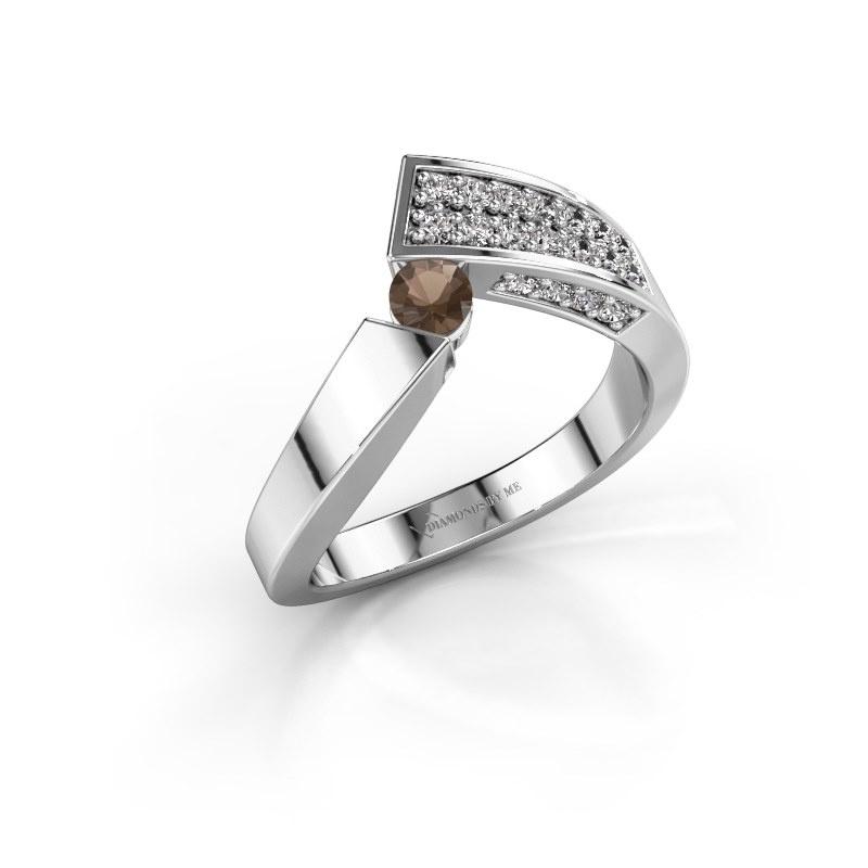 Ring Evie 585 white gold smokey quartz 3.4 mm