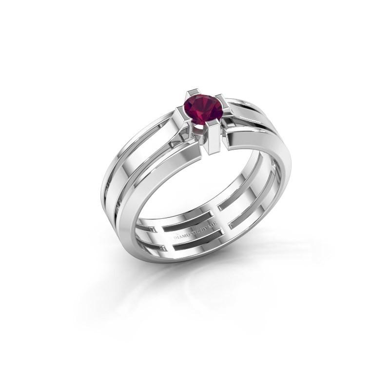 Heren ring Sem 950 platina rhodoliet 4.7 mm