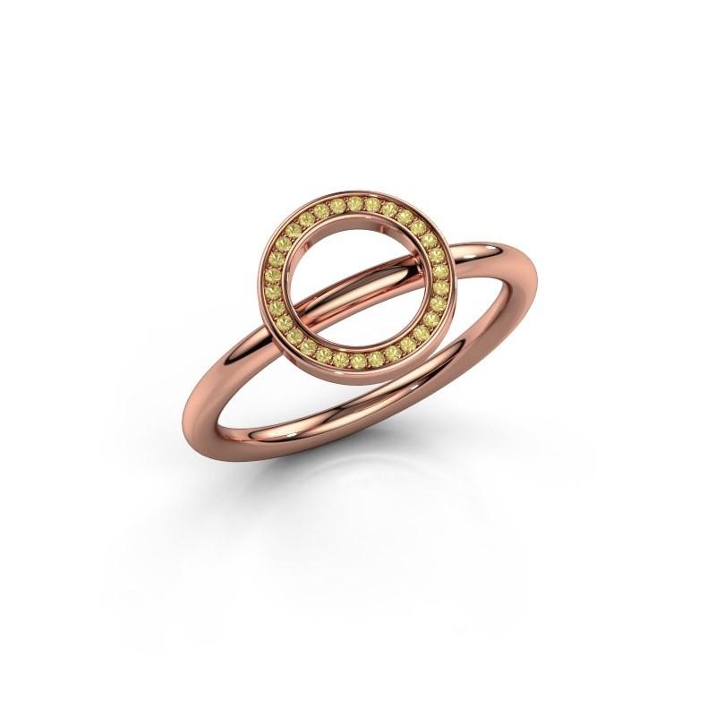 Ring Shape round large 375 rosé goud gele saffier 0.8 mm