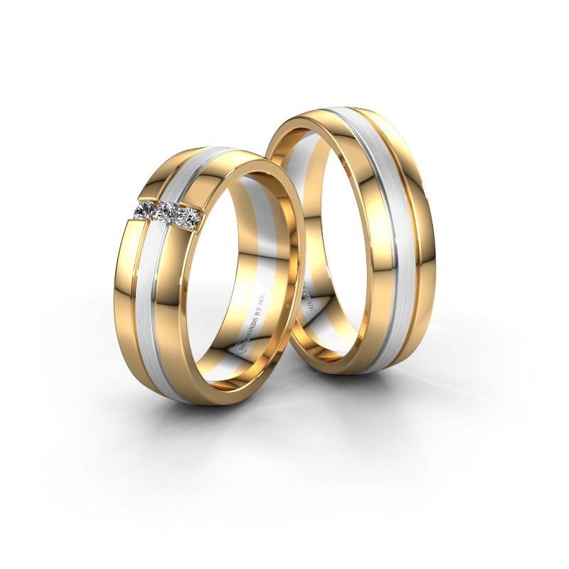 Trouwringen set WH0426LM26APM ±6x1.7 mm 14 karaat goud diamant 0.03 crt