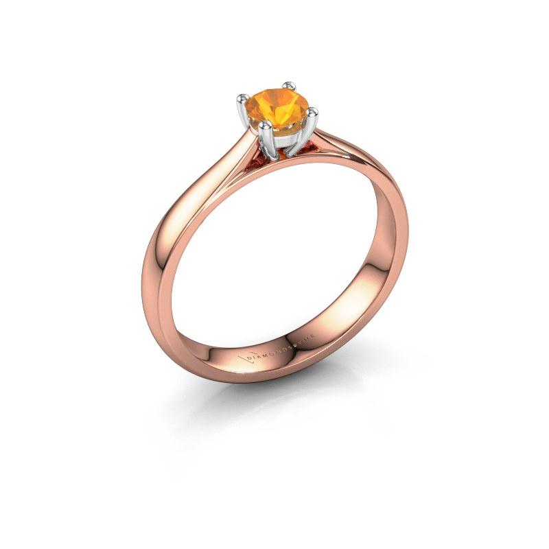 Engagement ring Sam 585 rose gold citrin 4.2 mm