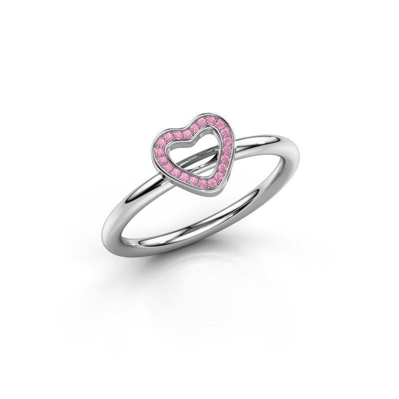 Ring Shape heart small 925 zilver roze saffier 0.8 mm