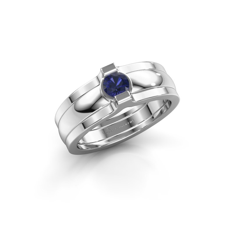 Ring Jade 925 Silber Saphir 4 mm