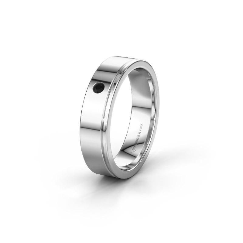Trouwring WH0501L15AP 950 platina zwarte diamant ±5x1.7 mm