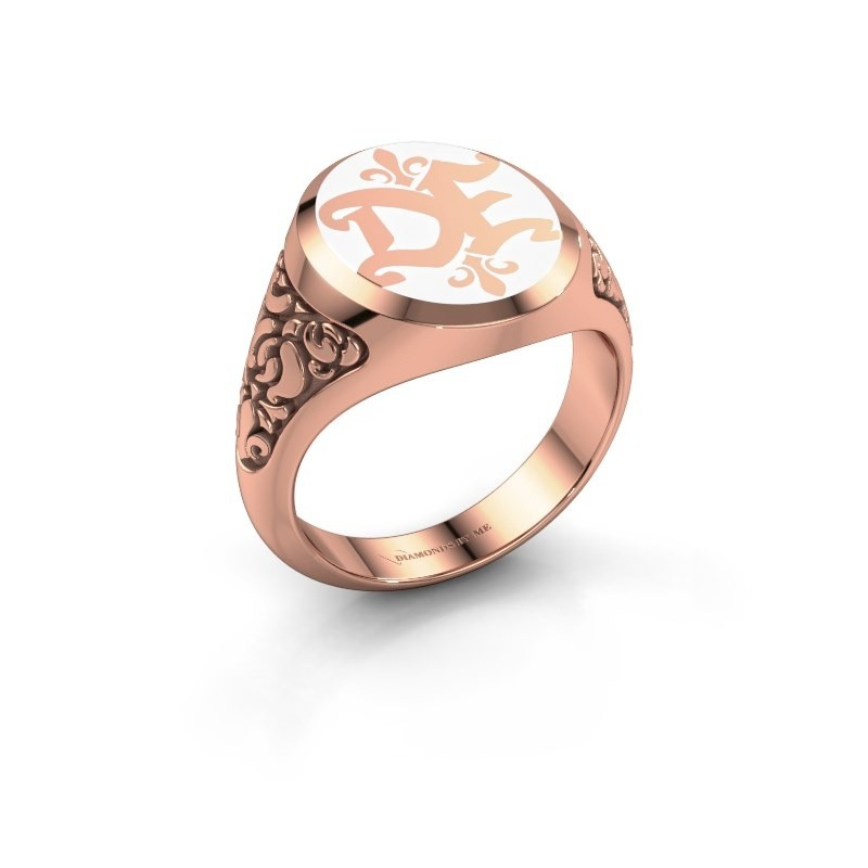 Monogram ring Brian Emaille 375 rose gold white enamel