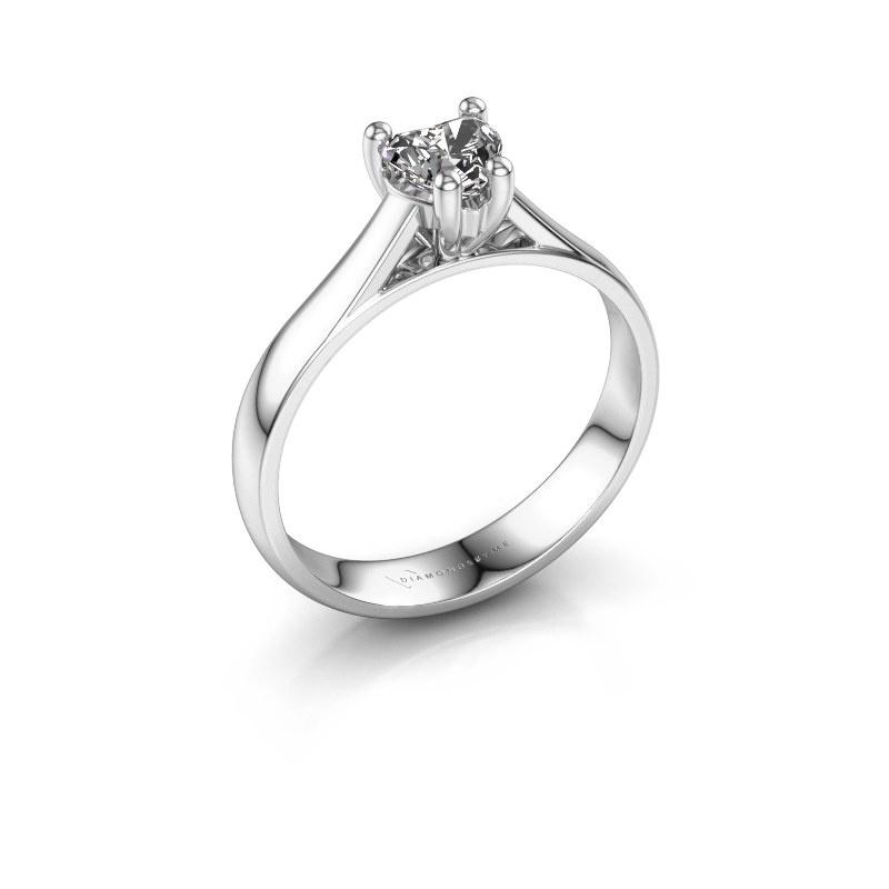 Engagement ring Sam Heart 950 platinum zirconia 5 mm