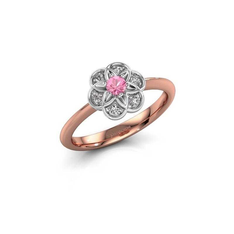 Bague de fiançailles Uma 585 or rose saphir rose 3 mm