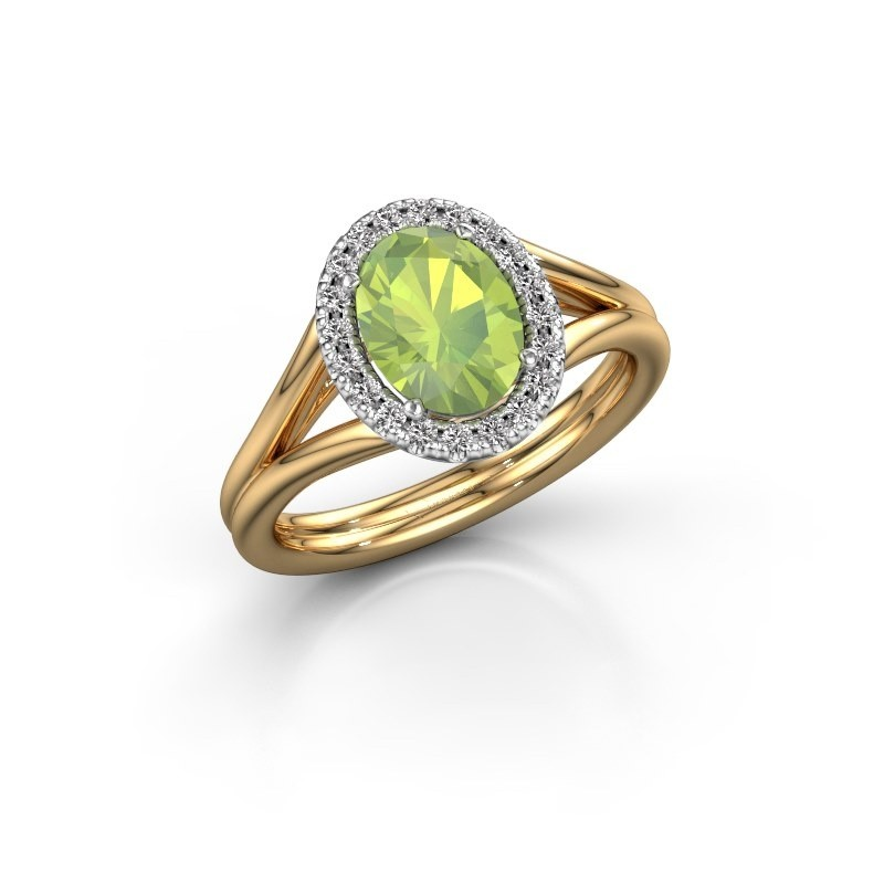 Engagement ring Rachele 1 585 gold peridot 8x6 mm