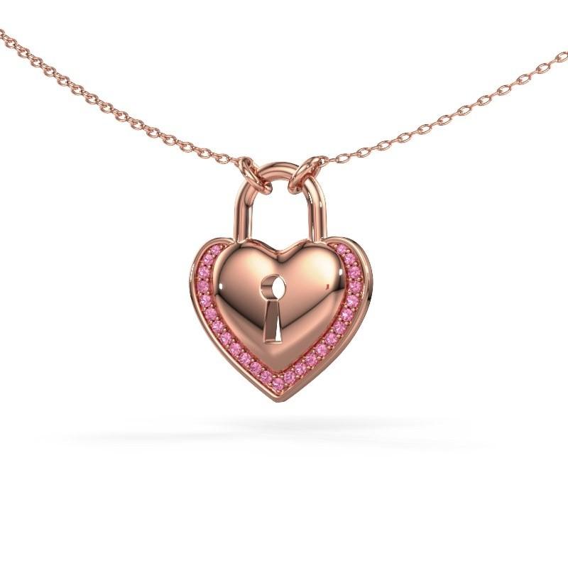 Halskette Heartlock 375 Roségold Pink Saphir 1 mm