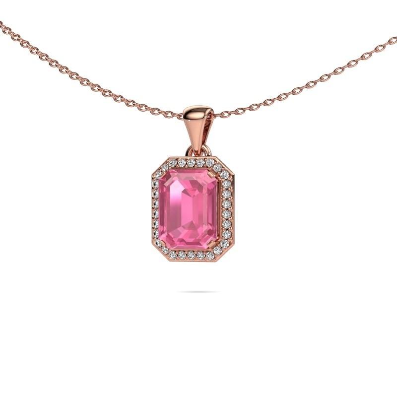Ketting Dodie 375 rosé goud roze saffier 9x7 mm