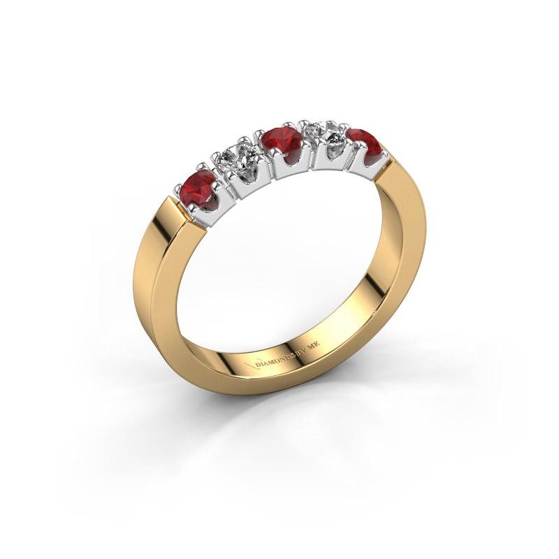 Verlovingsring Dana 5 585 goud robijn 3 mm