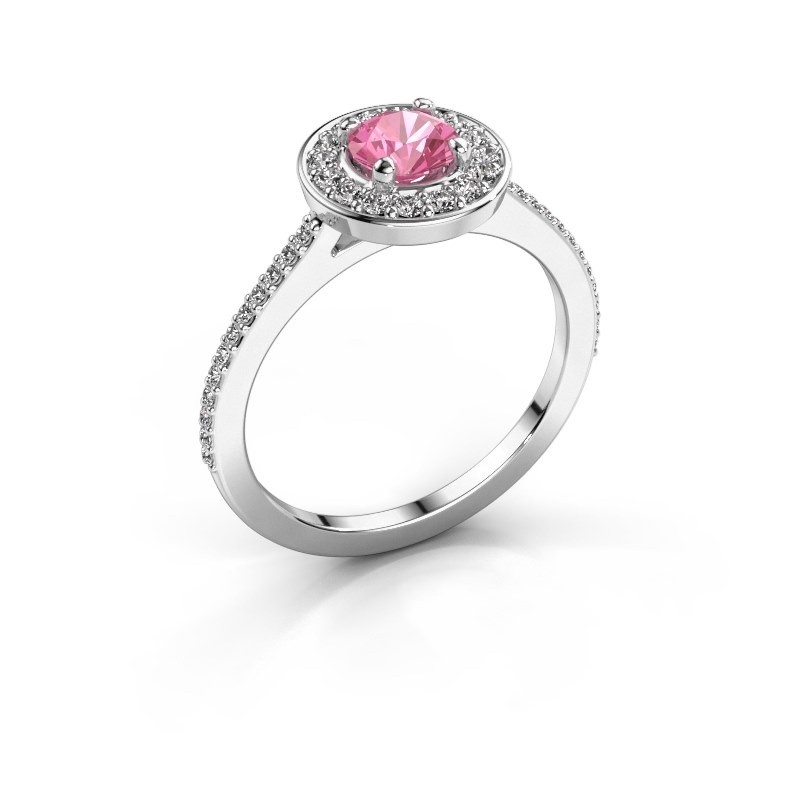 Ring Agaat 2 585 white gold pink sapphire 5 mm