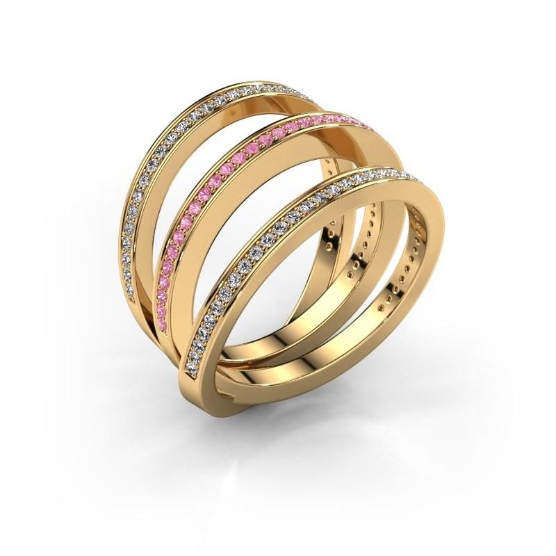 Ring Jaqueline 375 Gold Pink Saphir 1 mm