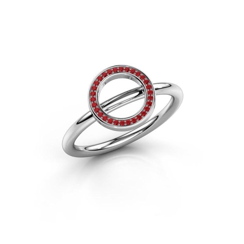 Ring Shape round large 950 platina robijn 0.8 mm