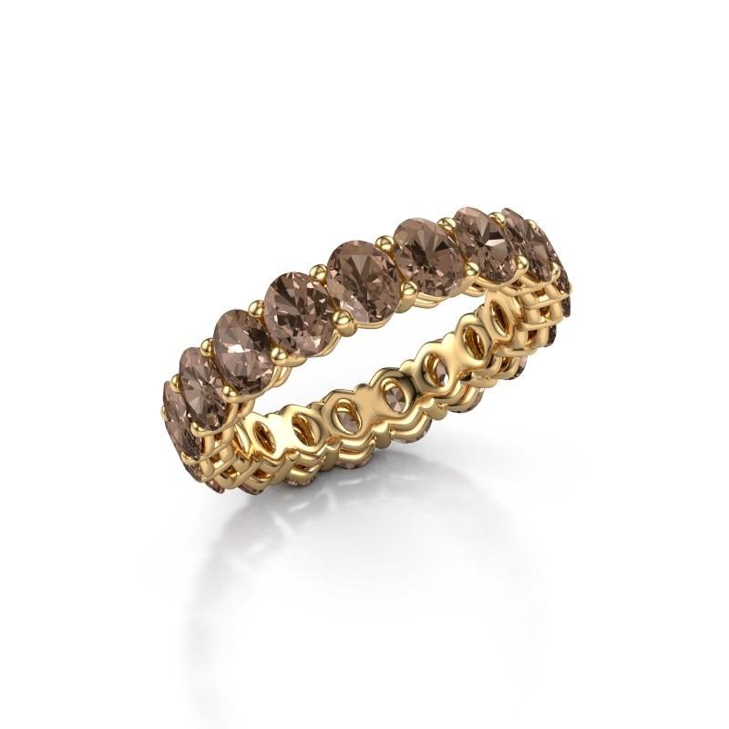 Aanschuifring Heddy OVL 3.5x4.5 375 goud bruine diamant 3.990 crt