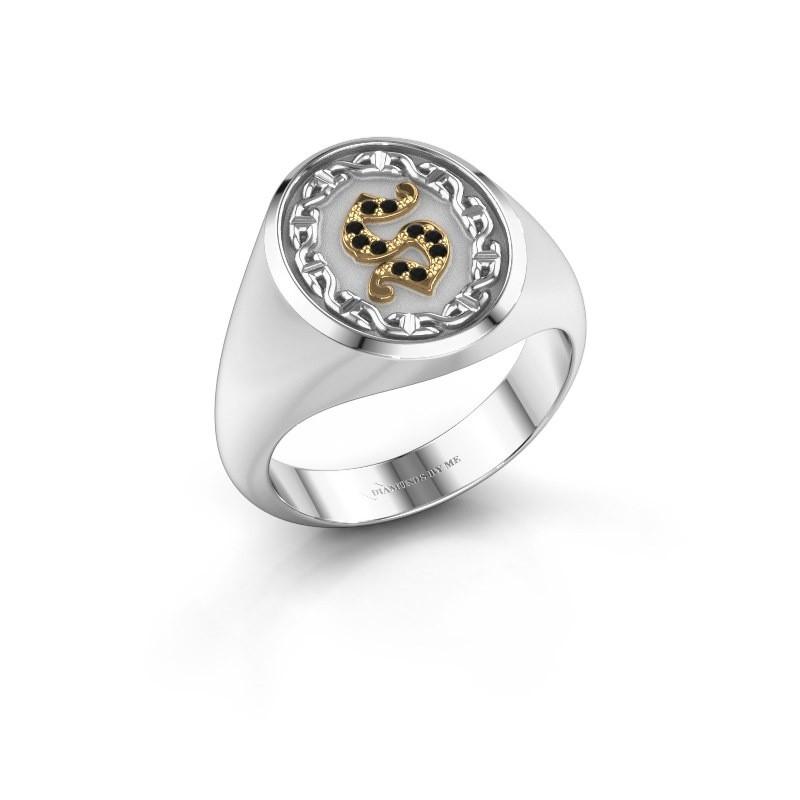 Men's ring Ruan 585 white gold black diamond 0.06 crt